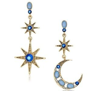 NWT Betsey Johnson Moon And Star Drop Earrings
